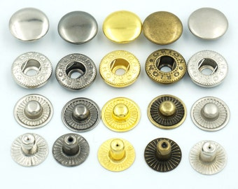 """50 Sets 15mm 5/8"""" Metal Snap Fastener Leather Rapid Rivet Button Sewing C10"""