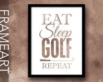 "Vintage Printable Wall Art ""Eat Sleep Golf Repeat"" Sports Quote Print Frame Art, Typography Print, Home Décor, Wall Décor 97 VWC"