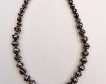 """Vintage Native American """"Navajo Pearls"""" Silver Necklace"""