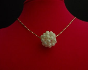 Unique Pearl Cluster Pendant on Sterling Silver Necklace