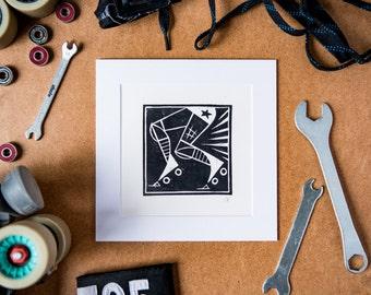 Roller Derby Art Print #4 - hand-printed lino cut