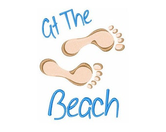 At The Beach Footprints - Machine Embroidery Design