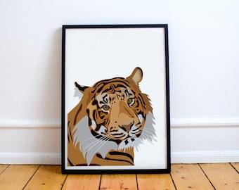 "Ti.ger /ˈtʌɪɡə/ : a wild animal, digital print art, illustrated by ""fiil""."