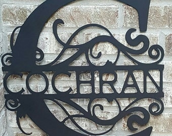 Handcrafted Personalized Metal Monogram Sign. Can be any size. Great house warming gift. Also great for a Wedding gift orAnniversary gift.