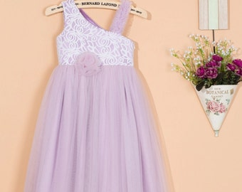 Lavender flower girl dress/lilac purple  tulle flower girl dress/purple lace flower girl dress/purple wedding birthday party dress 0052