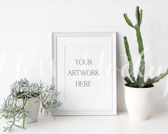 A4 DIGITAL White Frame Mockup (Portrait) - Stock Photo, Styled Photography, Mock up, prints, illustration, INSTANT DOWNLOAD