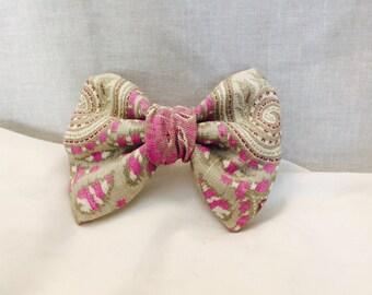 Summer purple paisley fabric hair bow on a clip. womans gift ideas.