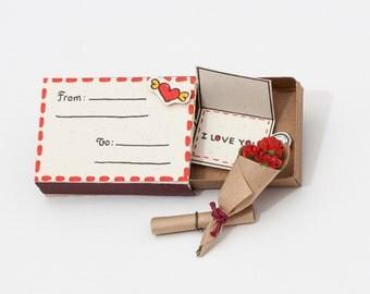 Valentinstag Karte / Romantische Liebe Personalisierte Karte / Valentinstag  Geschenk Für Ihn Ich Liebe Dich /