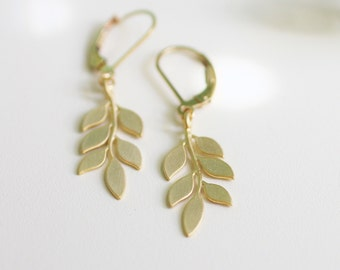 matte gold branch, matte gold leaves, matte gold leaf earrings, gold leaf earrings, gold dangle earrings, matte gold dangle earrings