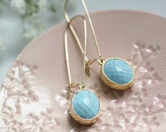 long drop earrings, gold drop earrings, turquoise earrings, glass drop earrings, turquoise and gold earrings