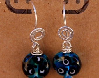 Whimsical sterling and  turquoise glass tab earrings