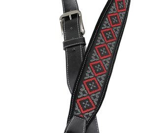 Southwestern Guitar Strap Woven Top with Padded Suede Back and Leather Ends SW-08