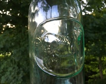 Vintage Absolutely Pure Milk Bottle with Spout Type Mouth. Clear Glass. No Lid