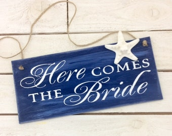Here Comes The Bride Beach Wedding Sign-12' x 5.5' Sign-Here Comes The Bride Wedding Sign-Shabby Chic Wedding SIgn
