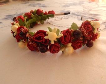 Bridal Headpiece Headband Burgundy