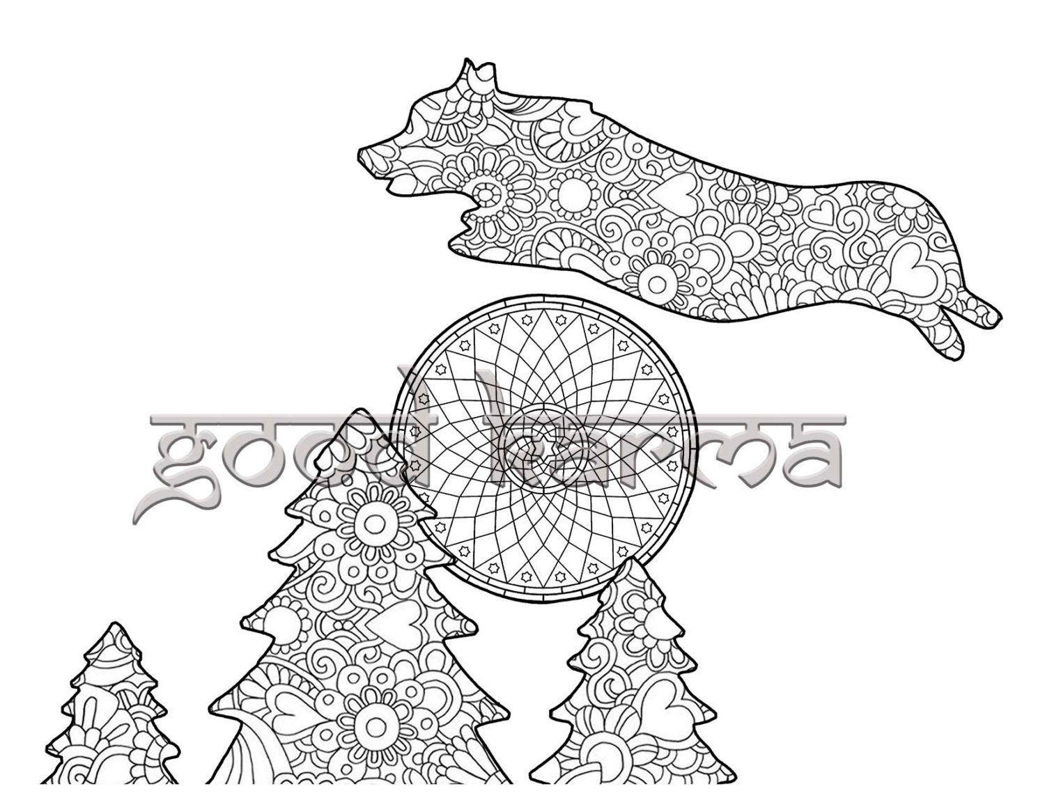 corgi coloring pages - the corgi coloring book page 9 by thekarmakart on etsy
