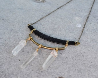 Quartz and Dark Leather Moon Brass Necklace
