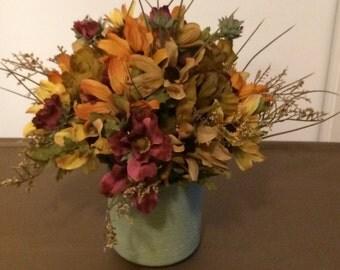 Fall Silk Flowers, Autumn SIlk Flowers, Faux Autumn Flowers, Faux Fall Flowers, Faux Flower Centerpiece, Autumn Centerpiece, Fall Centerpiec