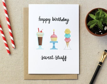 Happy Birthday Sweet Stuff Illustrated Card