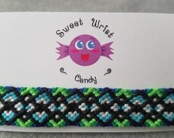 Handmade Blue and Green Patterned Friendship Bracelet