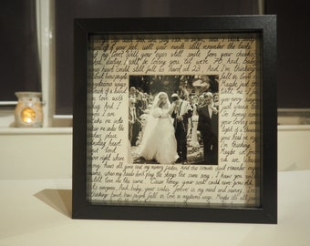 Any song or words made to order. Personalised wedding, anniversary, first dance lyrics, vows box frame. Perfect Valentines Day gift!