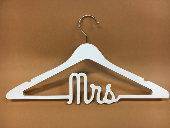 Wedding hanger mrs wooden bride hanger white plywood for Mrs hangers wedding dress