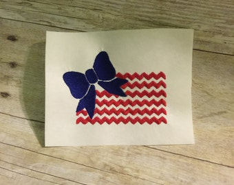 Chevron Flag Embroidery Design, Girly Fourth Of July Embroidery Design
