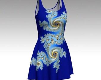 Royal Blue Dress, Blue Dress, Flare Dress, Fit and Flare Dress, Skater Dress, Bodycon Dress, Fitted Dress, Abstract Dress, Women's Dress
