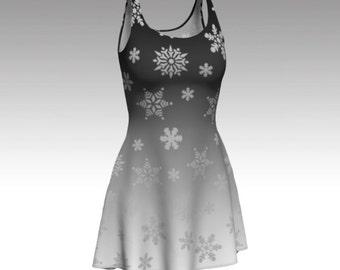 Snow Flurries Dress, Snowflake Dress, Gray Dress, Gray Ombre Dress, Ombre Dress, Flare Dress, Skater Dress, Bodycon Dress, Fitted Dress, Art