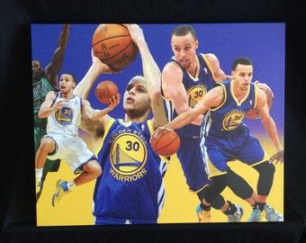 Steph Curry Custom Canvas Print 20x16 in