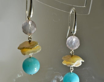 Earrings with Rose Quartz beads, chips and Amazonite