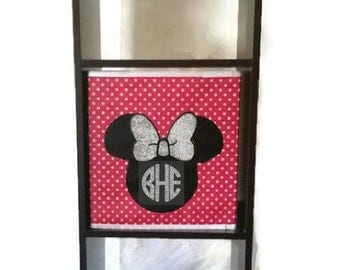 Minnie Mouse Personalized Storage Bin. Custom Foldable Minnie Mouse Cube Organizer. Minnie Mouse Glitter Bow Monogram collapsible storage