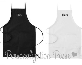 Embroidered His and Hers/Mr. and Mrs. Apron