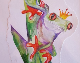 OOAK Watercolour-Tree Frog (Prince Charming)