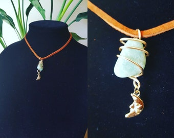 Amazonite with Gold Moon Charm