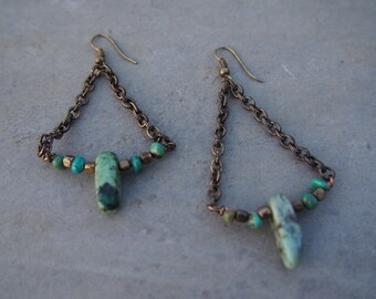Boho earrings made with Jasper and Turquoise