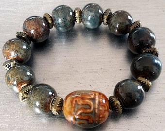 Vintage tone bracelet, Porcelain beads stretch bracelet, Pottery beads, Earth colors bracelet,