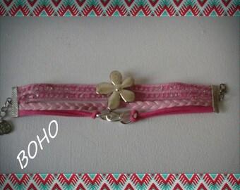 Boho pink bracelet, Flower charm bracelet, Pink colors cuff, Millenial pink bracelet gift for friendgirl