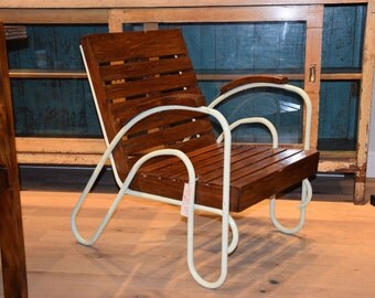 Chair in teak and patinated metal