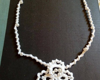 Handmade white necklace with white pearls