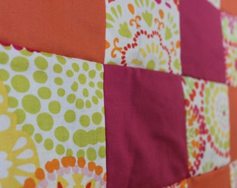 Pink and Orange Patchwork Quilt - MADE TO ORDER