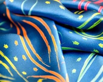 BEAUTY silk scarf, rainbow scarf, silk shawl, colorful scarf, gift for her, multicolor scarf, shawl, long scarf, printed silk scarf