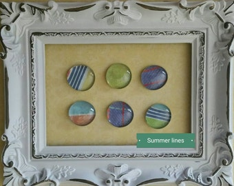 Glass pebble magnet, Summer lines