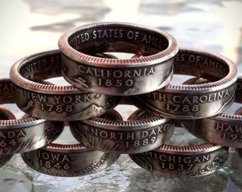 US State Quarter coin ring
