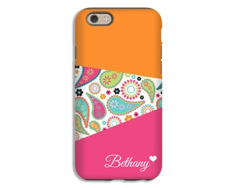 Paisley iPhone 7 case, pink and orange iPhone 7 Plus case, iPhone 6s Plus case/6s case/SE case, iPhone 5s case, iPhone 6 Plus case/6 case