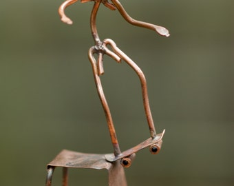 Copper Art Figurine Skateboarder