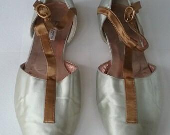 Vintage Philippe Model Silk Satin T-Strap Ballerina Flats