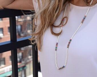 African bones and vinyl beads necklace