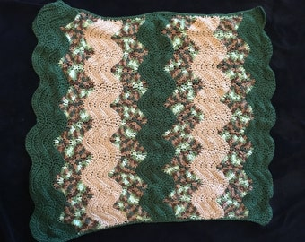 Camo stroller blanket - crochet