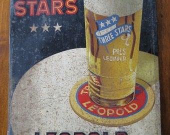 Advertising Plate tin Three Stars Pils Leopold, USA 30s ...